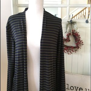 Agnes & Dora Navy/Olive Striped Duster Cardigan